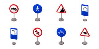 Different types of road signs icons in set collection for design. Warning and prohibition vector symbol stock web Stock Images