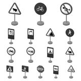Different types of road signs monochrome icons in set collection for design. Warning and prohibition signs vector symbol Royalty Free Stock Photo