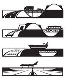 Different types of roads with vehicles. Vector illustration royalty free illustration