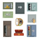 Different types of safes set, property security concept vector Illustrations isolated on a white background.  Stock Photos