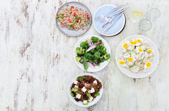 Different types of salads for summer entertaining Stock Photo