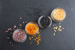 Different types of salt royalty free stock photo