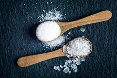 Different types of salt. Top view on two wooden spoons Stock Photography
