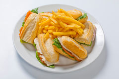 Different types of sandwiches with French fries on a white plate Stock Photos