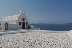 Beautiful views of Santorini Greece stock photo