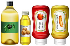 Different types of sauces and oil. Illustration Stock Photo