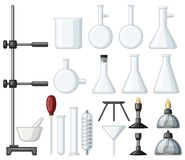 Different types of science containers and burners. Illustration Stock Photo