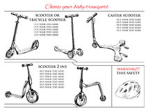 Different types scooters  and balance bike. Vector illustration of  set hand drawn different types scooters  and balance bike. Hand drawn template Stock Images