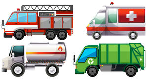 Different types of service trucks. Illustration Stock Photo