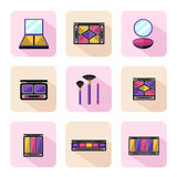 Different types of shadow pallette. Vector flat style icons set of beauty, makeup and cosmetics products. Different types of shadow pallette, compact powder Stock Image