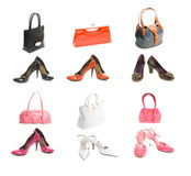 Different types shoes and bags. Set. Isolated on white background stock images