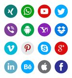 Social media icon collection buttons. Different types of social media icon collection with creative buttons vector illustration