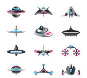Different types of spaceships Royalty Free Stock Image