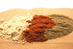 Different types of spice. Three different types of spice on a white background Royalty Free Stock Image