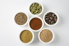 Different Types Of Spices In Arranged In Bowls Stock Images