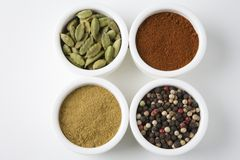 Different Types Of Spices Arranged In Bowls Royalty Free Stock Image