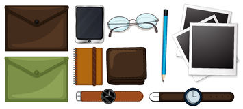 Different types of stationaries set. Illustration Stock Photography