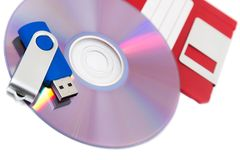 Different types of storage media. Isolated on a white background Royalty Free Stock Photography
