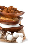 Different types of sugar - Demerara, Brown and White Stock Photography