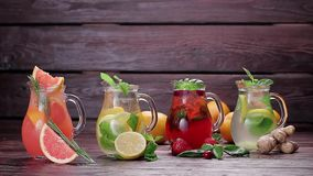 Different types of summer lemonades. stock footage