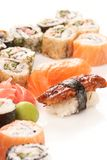 Different types of sushi Stock Photos