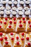 Different types of sweet dessert on board, patisserie, healthy cakes Royalty Free Stock Photos