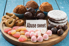 Different types of sweet foods Stock Photo