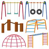 Different types of swing and monkeybars. Illustration Royalty Free Stock Photography