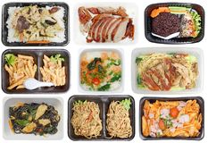 Takeaway food in microwavable containers Stock Images