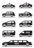 Different types of taxi cars Royalty Free Stock Photo