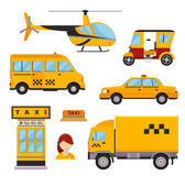 Different types of taxi transport. Cars. Helicopter, van truck, bike and motorcycle. Taxi vector illustration. Taxi cars. Taxi city service girl manager. Taxi Stock Photography