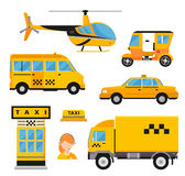 Different types of taxi transport. Cars. Helicopter, van truck, bike and motorcycle. Taxi vector illustration. Taxi cars. Taxi city service girl manager. Taxi Stock Photos