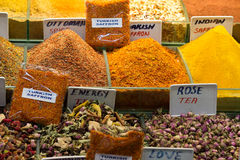 Different types of tea in the Grand Bazaar in Istanbul Stock Photo