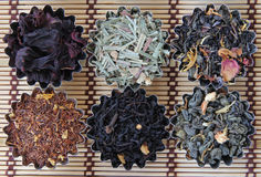 Different types of tea. Photo of different varieties of tea on a bamboo mat Royalty Free Stock Photography