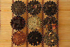 Different types of tea. Photo of different varieties of tea on a bamboo mat Stock Photo