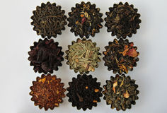 Different types of tea. Photo of different varieties of tea on a white background Stock Photography