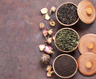 Different types of tea stock photos
