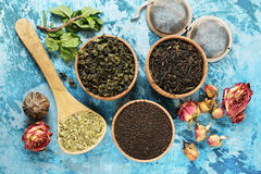 Different types of tea Royalty Free Stock Photos