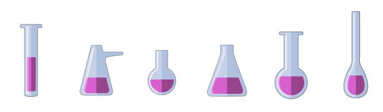 Different types of test tubes. vector illustration