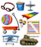 Different types of toys. Illustration Stock Photography