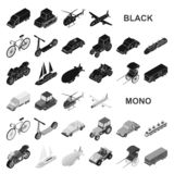 Different types of transport black icons in set collection for design. Car and ship isometric vector symbol stock web stock illustration