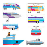 Different types of transportation icons Stock Photo