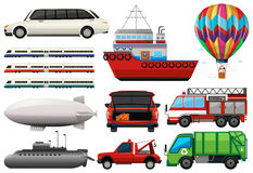 Different types of transportations Stock Images