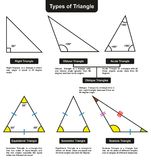 Different Types of Triangles with definitions angles. Infographic diagram including right obtuse acute oblique equilateral isosceles and scalene for mathematics royalty free illustration