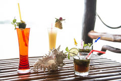 Different types of tropical cocktails. Thailand Stock Photo