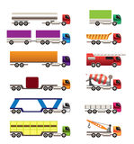 Different types of trucks and lorries icons. Vector icon set royalty free illustration