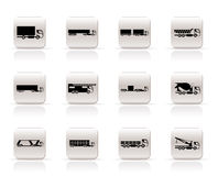Different types of trucks and lorries icons Royalty Free Stock Photo
