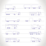 Different types of trucks and lorries icons Royalty Free Stock Photography