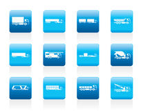 Different types of trucks and lorries icons. Vector icon set Royalty Free Stock Image