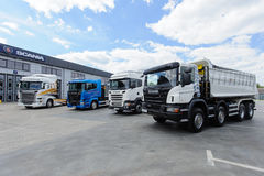 Different types of trucks in the yard Stock Photography